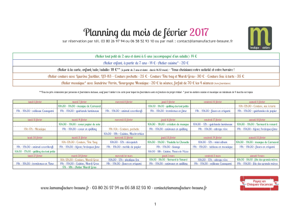 la-manufacture-planning-fevrier-2017